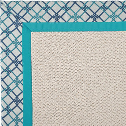 Frontgate - Outdoor Parkdale Rug in Sunbrella Criss Cross Blue/Blue White Wicker - 5' x 8' - Wicker-textured base is woven in soft and durable olefin. Choose from two base colors on White Wicker borders. Cleans with soap and water. Sunbrella® fabric is resistant to fading, staining, and mildew. Rug pad recommended (sold separately). Our Parkdale Rug with colorful borders match the premium all-weather fabrics featured on our replacement cushions, pillows, draperies and umbrellas. This all-weather rug will work just as beautifully indoors as it does outside.  .  .  . Sunbrella fabric is resistant to fading, staining, and mildew .  . Made in the USA.