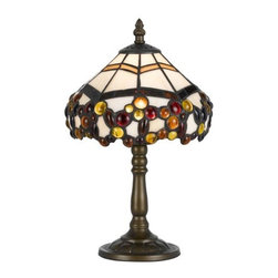 Cal Lighting - Cal Lighting BO-2383AC Tiffany 1 Light Pedestal Base Table Lamp - Features: