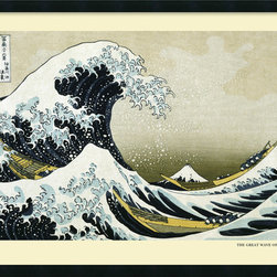 Amanti Art - The Great Wave off the Coast of Kanagawa by Hokusai, Framed - Hang this iconic graphic image of the intense waves off Japan as a reminder of the ocean's powerful force. The Hokusai print is a bold complement to your modern aesthetic. Let yourself get carried away by this intense force of nature.
