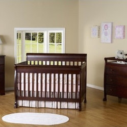 Kalani Three Piece Convertible Crib Nursery Set with Toddler Rail in Espresso