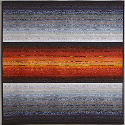 "Quilts--abstract and intense - A simple but complex piece that uses the vibrant color achieved by piecing very thin strips of cotton through a cotton batting onto the back. What a wall hanging. 36 x 36"" Photo byJohn Polak"