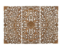 Woodland Imports - Set of 3 Carved Wood Wall Panels Brown Intricate Floral Home Decor - Attractive set of 3 carved wood wall panels in weathered brown finish with intricate floral design details home decor