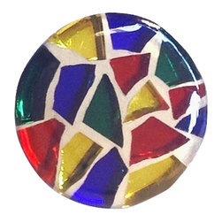 Glace Yar - True Colors Stained Glass Mosaic Cabinet Knob, Antique Brass - Beautiful stained glass in primary colors of red, blue, yellow and green nestled in white grout adorn this glass cabinet knob.  Each piece of glass is individually hand cut and set creating a mini piece of stained glass art just for you.