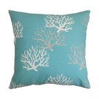 """The Pillow Collection - Hafwen Coastal Pillow Blue - Create a coastal-themed decor style in time for summer with our chic throw pillow. This decor pillow features a sumptuous blue hue and coral pattern. The pattern adds a beautiful detail to this square pillow. Made of 100% soft and high-quality cotton fabric, this 18"""" pillow is ideal for your couch, bed or seat. Mix with contrasting colors and patterns for a fun and whimsical interior styling. Hidden zipper closure for easy cover removal.  Knife edge finish on all four sides.  Reversible pillow with the same fabric on the back side.  Spot cleaning suggested."""