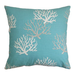 "The Pillow Collection - Hafwen Coastal Pillow Blue - Create a coastal-themed decor style in time for summer with our chic throw pillow. This decor pillow features a sumptuous blue hue and coral pattern. The pattern adds a beautiful detail to this square pillow. Made of 100% soft and high-quality cotton fabric, this 18"" pillow is ideal for your couch, bed or seat. Mix with contrasting colors and patterns for a fun and whimsical interior styling. Hidden zipper closure for easy cover removal.  Knife edge finish on all four sides.  Reversible pillow with the same fabric on the back side.  Spot cleaning suggested."