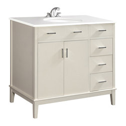 "Simpli Home - Urban Loft White 36"" Bath Vanity with White Quartz Marble Top - The Simpli Home 36 inch Urban Loft Vanity Collection is defined by its white finish,  multi finish chrome pulls & hardware and clean lines and contemporary look.  This beautiful assembled vanity provides large storage area with internal shelf behind its 2 doors and 1 bank of drawers with 3 working drawers"