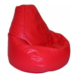 Elite Products - Lifestyle Extra Large PVC Vinyl Bean Bag in D - Bold and bright, red is a shade that makes these bean bags a favorite. Even better, they're extra large for an adult or kids. Plump them up just right for seating that's designed with a high back for added support. * Long lasting and durable. Pear shape body for add comfort. Double stitched with double overlap folded seam. Double zippered bottom for added security. Childproof safety lock zippers (pulls have been removed). Can easily be refilled by an adult. Easy to clean. Recommended seating age: 10 years + and adults. Warranty: One year limited. Made from PVC vinyl, polystyrene bead. Made in USA. No assembly required. 41 in. L x 39 in. W x 33 in. H (11 lbs.)Extra large bean bag chairs are just the right size for dorms, but they're in demand for homes and apartments, too. Great for any entertainment setting or for studying. Surround yourself with oversized luxurious comfort.