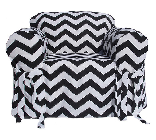 Classic Slipcovers - Black/White Chevron Print One-piece Chair Slipcover - Transform any chair into a standout piece. The season's must-have pattern is offered in a black and white color that matches any decor. A modern and refreshing accent in any room, this slip cover features printed chevron on 100-percent pure cotton.