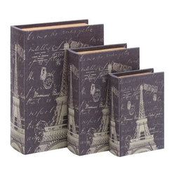Benzara - Book Box Set with Paris Eiffel Tower Theme - Book Box set with Paris Eiffel Tower Theme. This elegant and clever themed book box set is the perfect touch of Paris culture.