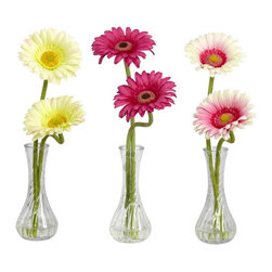 Gerber Daisy w/Bud Vase (Set of 3) - Take one look at this beautiful Gerber daisy, and you can�t help but bask in the perfection of Mother Nature. It�s not just the perfect green stems climbing high as they (sometimes) curve and twist, it�s not the delicate petals on the bloom, nor is it the exquisite flower center � it�s the way all of these things work together. Just look at it again� nature is perfect indeed.  Comes in a bulb vase w/ liquid illusion. Height= 13 in X Width= 3.5 in X Depth= 5 in