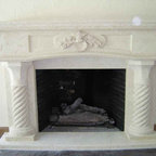 Our Products - A fireplace hand made with natural stone.