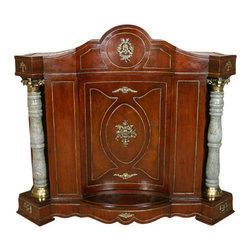 MBW Furniture - Large Mahogany Bookcase Cabinet - This beautiful cabinet epitomizes solid, fine quality furniture. The hand crafted details are exquisite. The door has a unique inward curve, echoed in the interior shelf. Large full columns highlight the elegance of this piece of furniture. Hand crafted, solid brass capitols and bases hold these granite columns. The raised accents and rope trim are also solid brass. With an elegant pediment, this massive piece is sure to make a statement in your home. Other Dimensions: (In inches)Top Shelf  17.5H x 54.5W x 9.75D. Bottom Shelf  17H x 54.5W x 10.5D.