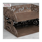 Gracious Goods GG - Burnished Bronze Metal Scroll Style Letter Tray - GG Metal Stacked Horizontal Document Letter Tray