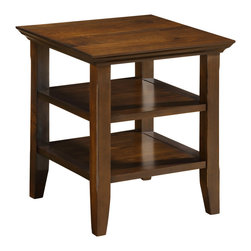 Simpli Home - Acadian 19 inch Square End Table in Tobacco Brown - Good things really do come in small packages. Nothing could illustrate this better than the design of our Acadian End Table which features two open shelves providing plenty storage space. The table is sized perfectly to allow room for a table lamp, book and family photos. A perfect companion to any sofa or arm chair.  This flexible piece can also be used as a bedside table or in multiple other settings.