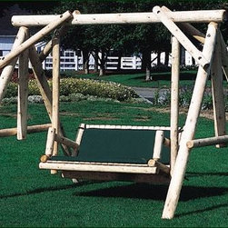 "Norumbega Swing - A relaxing trip for young and old alike.  Solidly built. Slatted seat slopes for added comfort. Frame height 6'-6"", width 7', length 8'. Seat between arms 43 1/2"", floor to seat 16"", depth 19"". Shipped kit. Motor freight. Cushions sold separately."