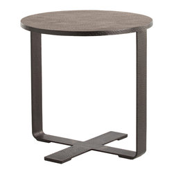 Kathy Kuo Home - Modernist Industrial Hammered Iron Folding Tray Round End Table - We love the tough, vintage attitude of this round hammered metal iron end table.  With a black wax finish, this piece would be perfect in an industrial loft space.