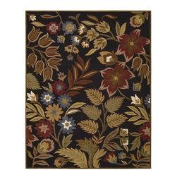 Nourison Rugs - In Bloom Black Area Rug - INB01-Black - Brand: Nourison