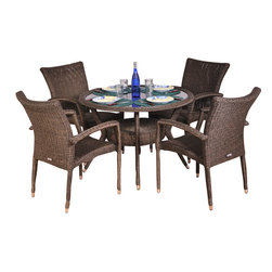 International Home Miami - Atlantic Bari 5-Piece Patio Dining Set - Great quality, stylish design patio sets, made entirely of high quality resin. No metal parts. I won't rust. Polyester cushion with water repellant treatment. Enjoy your patio with elegance all year round with the wonderful Atlantic outdoor collection.
