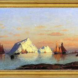 """William Bradford-16""""x24"""" Framed Canvas - 16"""" x 24"""" William Bradford Fishermen off the Coast of Labrador framed premium canvas print reproduced to meet museum quality standards. Our museum quality canvas prints are produced using high-precision print technology for a more accurate reproduction printed on high quality canvas with fade-resistant, archival inks. Our progressive business model allows us to offer works of art to you at the best wholesale pricing, significantly less than art gallery prices, affordable to all. This artwork is hand stretched onto wooden stretcher bars, then mounted into our 3"""" wide gold finish frame with black panel by one of our expert framers. Our framed canvas print comes with hardware, ready to hang on your wall.  We present a comprehensive collection of exceptional canvas art reproductions by William Bradford."""