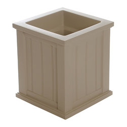 "Mayne Inc. - Cape Cod Patio Planter 16x16 Clay - Looking to upgrade your outdoor space? Enhance the look of your patio or front entrance with a selection of Mayne's Cape Cod planter collection. With rich architectural detail you can easily transform your patio into your own personal retreat. The Cape Cod planters also feature a water-reservoir that creates a self watering effect to keep your plants looking fresh! The Cape Cod collection features a beaded panel design. Our molded plastic planters are made from high-grade polyethylene, double wall design.  Sub-irrigation water system, encourages root growth. Inside dimensions are 12""L x 12""W x 12""D, approximately 4.6 gallon soil capacity. Water reservoir capacity is approximately is 3.75 gallons (14 litres). 15-year limited warranty."