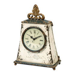 French Chateau Brady Table Clock - *Resembling an heirloom passed down through generations, the Brady clock has a unique French Chateau inspired design made of iron.