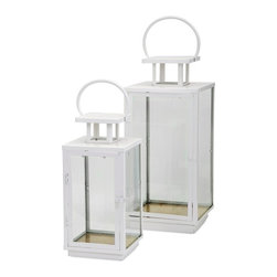 "Imax - White Metal and Glass Celebrations Lantern Candleholder- Set of 2 - *Dimensions: 6-8""h x 6-8""w x 16.75-22.25"""