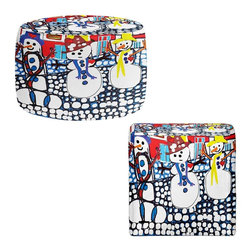 DiaNoche Designs - Ottoman Foot Stool by Dora Ficher - Snowy Day - Lightweight, artistic, bean bag style Ottomans. You now have a unique place to rest your legs or tush after a long day, on this firm, artistic furtniture!  Artist print on all sides. Dye Sublimation printing adheres the ink to the material for long life and durability.  Machine Washable on cold.  Product may vary slightly from image.