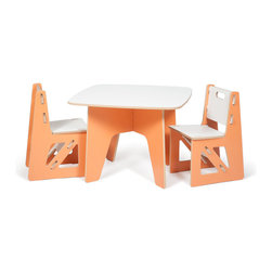 Quark Enterprises - Kids Table and 2 Chairs, Orange/White - This is a great little table and chairs combo. Both can easily be stored away and then quickly re-assembled when needed. And you can feel good because they're made from recycled materials right in the USA.