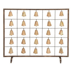 Benzara - Bell Fireplace Screen Assemble Design with Multiple Bells - You can spend your romantic evenings and enjoy your time with your loved ones with the soothing sound in the background with this Metal Bell Fireplace Screen Assemble Design with Multiple Bells. This metal bell fireplace screen fits perfectly with any decor. It features a ready to assemble design and comes with multiple bells that offer a calming tinkling sound. Bring home this metal bell screen and let your guests compliment you for your refined taste in home accessories. The fireplace screen comes 100% pre-assembled and is durable and sturdy. Constructed from durable metal, this screen prevents sparks from escaping the fireplace and is coated with a Gcolonial copper' finish that adds both beauty and durability.