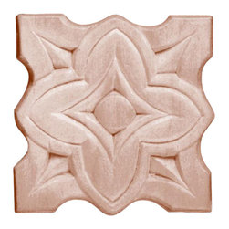 """3182 Wood Applique 2-3/8"""" x 2-3/8"""" - Decorative wood onlays and appliques, are decorative ornaments useful for bringing visual interest to flat areas. Embossed wood onlays and appliques are often used to decorate fireplace mantels, stove or range hoods and cabinetry headers."""