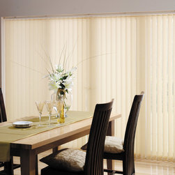 Fabric Vertical Blinds - Fabric Vertical Blinds in Gold: perfect for sliding glass doors! Made in America and high-quality. Affordable and available with many different options and features. Only from Shades Shutters Blinds!
