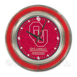Holland Bar Stool - Holland Bar Stool Clk15Oklhma Oklahoma Neon Clock - Clk15Oklhma Oklahoma Neon Clock belongs to College Collection by Holland Bar Stool Our neon-accented Logo Clocks are the perfect way to show your school pride. Chrome casing and a team specific neon ring accent a custom printed clock face, lit up by an brilliant white, inner neon ring. Neon ring is easily turned on and off with a pull chain on the bottom of the clock, saving you the hassle of plugging it in and unplugging it. Accurate quartz movement is powered by a single, AA battery (not included). Whether purchasing as a gift for a recent grad, sports superfan, or for yourself, you can take satisfaction knowing you're buying a clock that is proudly made by the Holland Bar Stool Company, Holland, MI. Clock (1)