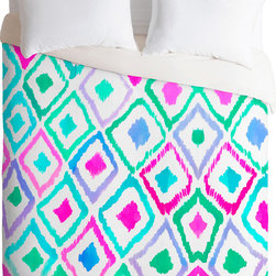 DENY Designs - DENY Designs Amy Sia Watercolour Ikat 2 Duvet Cover - Palette pleaser. Forty winks look fabulous with the Amy Sia Watercolour Ikat 2 Duvet Cover from DENY Designs. Intermingling diamonds adorn this artist-designed piece, custom-created using a six-color printing technique that directly dyes the buttery-soft woven front. A cozy cotton-blend on the backside was created for cuddling. Accent with similarly soft hues for a very welcoming sanctuary. Talk about beauty rest! Pillowcases not includedAvailable in multiple sizesZip closureInterior corner tiesCustom printed for every orderWoven polyester front / cotton-polyester backMachine washableDesigned by Amy SiaMade in the USAShips in 1 week
