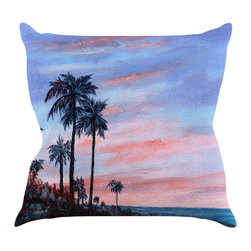 """Kess InHouse - Rosie Brown """"Florida Sunset"""" Palm Tree Throw Pillow (16"""" x 16"""") - Rest among the art you love. Transform your hang out room into a hip gallery, that's also comfortable. With this pillow you can create an environment that reflects your unique style. It's amazing what a throw pillow can do to complete a room. (Kess InHouse is not responsible for pillow fighting that may occur as the result of creative stimulation)."""
