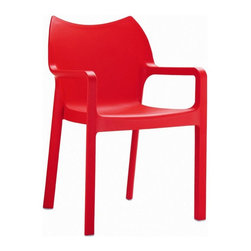 "Compamia ISP028-RED Diva Resin Outdoor Dining Armchair - Red - Set of 4 - It may be called the """"Diva"""", but the Compamia ISP028-RED Diva Resin Outdoor Dining Armchair - Red - Set of 4 is not nearly as high-maintenance as the name would suggest. Quite to the contrary, this set of chairs is about as durable and maintenance-free as you could ask for. Each chair is cast from a commercial-grade resin that is tough enough to withstand heavy use, prolonged outdoor exposure and the occasional vigorous cleaning. Non-skid feet won't mark up your floors, and these lightweight chairs can easily be stacked when they're not in use."