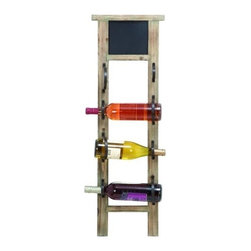 "Wood Chalkboard Wine Rack 56050 - Wood Chalkboard Wine Rack features wood frame with metal strap wine bottle holders and chalkboard on top. Holds four wine bottles. 36"" H x 12"" W"