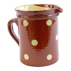 """Large Polka Dots Pitcher, Red, 6.5""""h X 5""""w - This charming handmade, hand-painted pitcher is spot on. Designed by Richard Esteban, it's punctuated with large polka dots for a fun and festive look that will make your guests feeling immediately relaxed. Use it to serve everything from water to lemonade to icy margaritas. Or, fill it with a bouquet of fresh-cut flowers."""