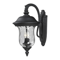 Two Light Black Clear Waterglass Glass Wall Lantern - Traditional charm emanates from this medium outdoor wall mount fixture, which pairs clear water glass with black hardware for a timeless look.