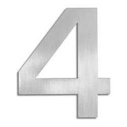 Blomus - Signo Stainless Steel House Number 4 - Includes mounting kit. Product is elevated from surface. Includes template, 2 pegs and set screws. Made of stainless steel, matte finish. 1-Year manufacturer's defect warranty. 5.93 in. H