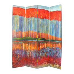 """Wayborn - 4 Panel Screen - """"Fall in the Forest"""" - 4 Panels. Fall in the forest scene. Hand painted. Cedar plywood frame. Brush strokes & light crackle finish. 64 in. W x 72 in. H (57 lbs.)Hand painted screens start with a cedar plywood frame covered in a cheesecloth material. Then layer after layer of plaster is applied; each layer must dry before another layer can be applied. After all the plaster has been applied several coats of lacquer is put over the entire surface. At that time the artist begins to sketch out the painting directly on the panels of the screen and begins painting the design with water based paint. Each one of these screens has its own characteristics and is truly a work of art."""