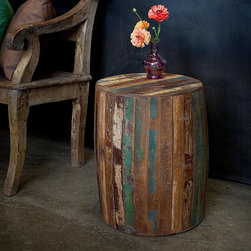Reclaimed Wood Weathered Tanki Table - This reclaimed wood table provides a fun way to add color in a room.