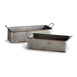 Camden Containers - Set of 2 - Industrial cool with a vintage touch. The Camden Containers in Rustic Iron bring rustic refinement to the transitional decor of a great room, outdoor terrace, mudroom, or any place your predilection for the eclectic is on display. Versatile enough for use as a planter, flower box, or a receptacle for bric-a-brac or electronic devices. Set of two.