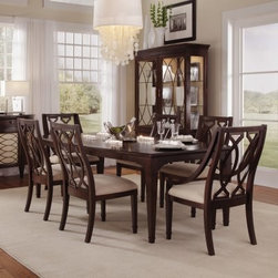 A.R.T. Furniture Intrigue 7 piece Rectangle Dining Set with Wood Back Chairs - D - A sophisticated transitional style of sweeping shapes and dramatic veneers makes the A.R.T. Furniture Intrigue 7 pc. Rectangle Dining Set with Wood Back Chairs – Dark Wood with Maple Stringer Inlay a true dining room standout. A starburst gray elm veneer tabletop pattern is complemented by double marquise chair backs, with all pieces constructed from durable, high-quality radiata hardwood solids with maple stringer inlays.About A.R.T. FurnitureFounded in 2003, A.R.T. Furniture creates beautiful, high-quality furniture inspired by architecture and design. Their sophisticated aesthetic draws upon the best of traditional European furniture designs, as well as rustic, coastal, and transitional styles. A.R.T. Furniture is known for its themed collections that reinvent classic forms for the needs of contemporary home decorators. Their dining room, bedroom, entertainment, and living room furnishings are constructed from sustainably forested hardwoods and veneers. A.R.T. Furniture is distinguished by its superior craftsmanship and attention to detail, taking the extra step in the manufacturing process to ensure quality, beauty, and durability for its customers.