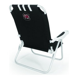 "Picnic Time - University of South Carolina Monaco Chair Black - The Monaco Beach Chair is the lightweight, portable chair that provides comfortable seating on the go. It features a 34"" reclining seat back with a 19.5"" seat, and sits 11"" off the ground. Made of durable polyester on an aluminum frame, the Monaco Beach Chair features six chair back positions and an integrated cup holder in the armrest. Convenient backpack straps free your hands so you can carry other items to your destination. Rest and relaxation come easy in the Monaco Beach Chair!; College Name: University of South Carolina; Mascot: Gamecocks; Decoration: Digital Print"
