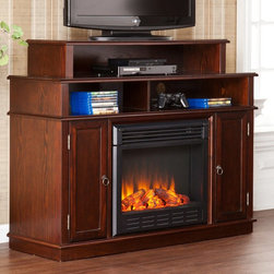 Southern Enterprises - Southern Enterprises Lynden Espresso Electric Fireplace Media Console - HN4971-0 - Shop for Fire Places Wood Stoves and Hardware from Hayneedle.com! The Southern Enterprises Lynden Espresso Electric Fireplace Media Console has room for AV components gaming consoles and plenty of DVDs but the only thing it doesn't have room for is one of those tacky videos of a fireplace that's on a continuous loop. Really who does that anymore? Certainly not you as you'll have all the charm and cozy appeal that comes from a crackling fire with this versatile electronic fireplace. LED lights give you the flickering flames and glowing embers while a simple remote control lets you adjust the temperature and brightness to suit your mood and space. Plus you can enjoy the flames all year-round with or without heat. On either side of the fireplace you have a paneled door concealing roomy media storage. Towards the top you have three open shelves allowing you to organize your AV components media consoles and stereo equipment. Additional ventilation isn't required as this unit emits no vapors or harmful gasses. Using robust panels of MDF with an exterior of high-quality wood veneers the espresso finish is designed to fit right in with almost any style of home decor. A finish of oil-rubbed bronze adds an elegant touch the hardware. About SEI (Southern Enterprises Inc.)This item is manufactured by Southern Enterprises or SEI. Southern Enterprises is a wholesale furniture accessory import company based in Dallas Texas. Founded in 1976 SEI offers innovative designs exceptional customer service and fast shipping from its main Dallas location. It provides quality products ranging from dinettes to home office and more. SEI is constantly evolving processes to ensure that you receive top-quality furniture with easy-to-follow instruction sheets. SEI stands behind its products and service with utmost confidence.