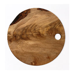 Wood Cutting Board - I love the combination of rustic and contemporary embodied in this round cutting board. It's one you'll want to leave out on display all the time.