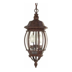 Nuvo Lighting - Central Park Old Bronze Outdoor Hanging Pendant - -Chain Included: 48  -Clear Beveled panels Glass Nuvo Lighting - 60/895