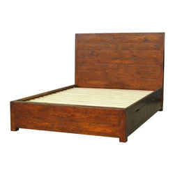 Parsons Queen Storage Platform Bed - Elegant, Eco-Friendly and Reclaimed. Our Parsons Queen Platform Bed with Storage is inspired by a time when wood furniture was joined to perfect by carpenters and cabinet makers who created pieces without screws, staples, etc. Our artisans have managed to recreate this effect in each piece of the bench-built collection, which is crafted of recycled and reclaimed wood with hand-cast hardware.