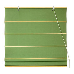 Oriental Unlimted - Cotton Roman Shades in Light Green (48 in. Wi - Choose Size: 48 in. WideBright and appealing in a light green finish that brings to mind fresh mowed grass, this cotton Roman shade will be an excellent way to add color and style to your home's decor. Both casual and classic, the blind is available in your choice of size option. These Light Green colored Roman Shades combine the beauty of fabric with the ease and practicality of traditional blinds. Made of 100% cotton. Easy to hang and operate. 24 in. W x 72 in. H. 36 in. W x 72 in. H. 48 in. W x 72 in. H. 60 in. W x 72 in. H. 72 in. W x 72 in. H