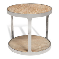 Kathy Kuo Home - Zanuso Industrial Reclaimed Elm Stainless Steel Round Side Table - Balancing a sleek polished steel frame with natural, reclaimed wood, this distinctive side table delivers a strong modern effect.  The oval shape and unorthodox placement of legs - a triad arrangement - create a surprising and subtle visual interest.